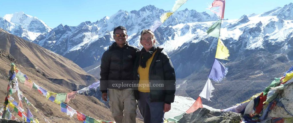 view of Langtang range from Kyanjing Gumpa Nepal