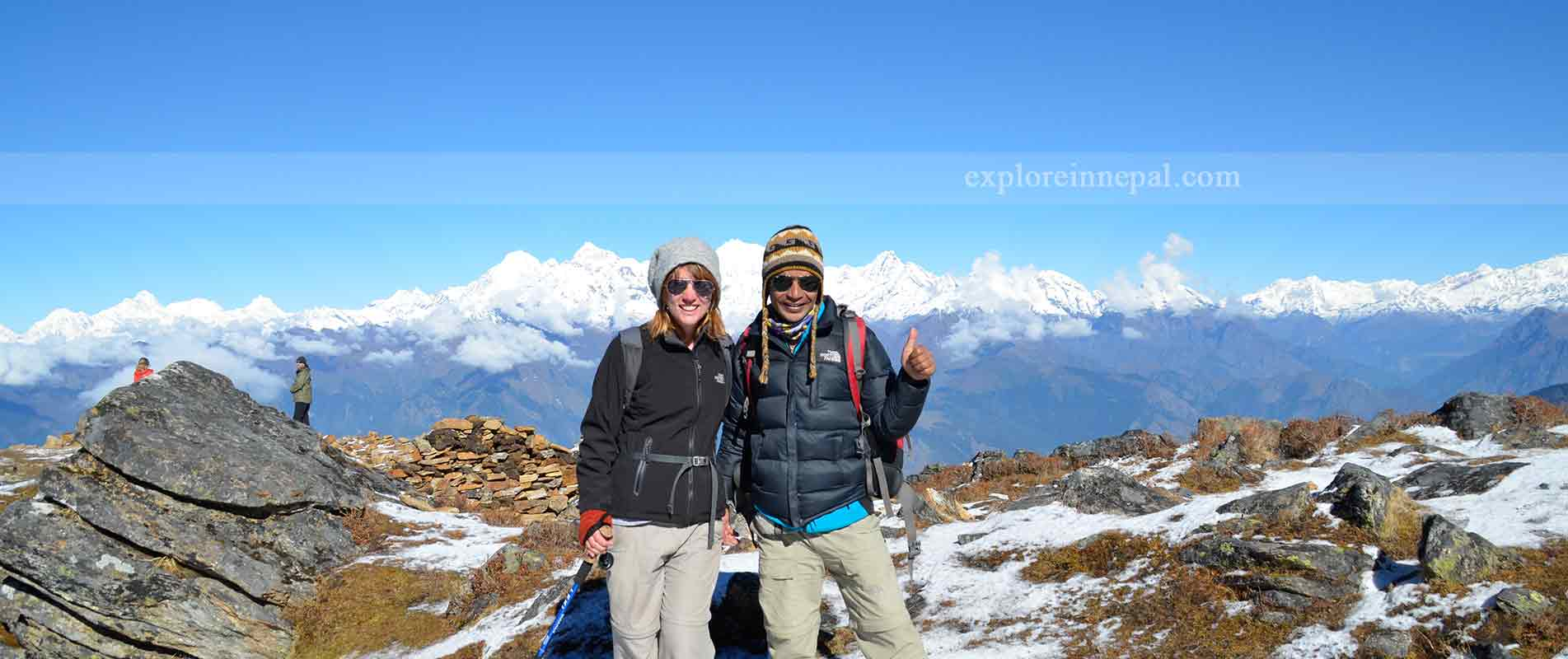 View from Laurebinae pass to Langtang valley / Ganesh Himal and annapurna range from distance