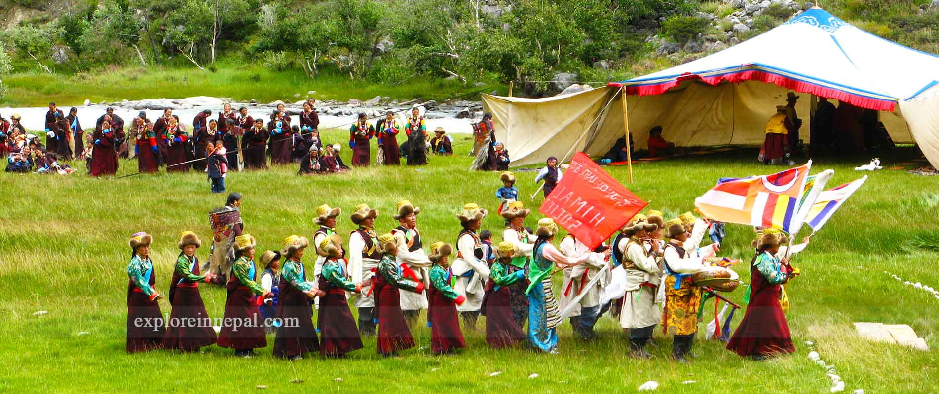 rare clutural dance in group in Rara , Humla and Limi valley trek