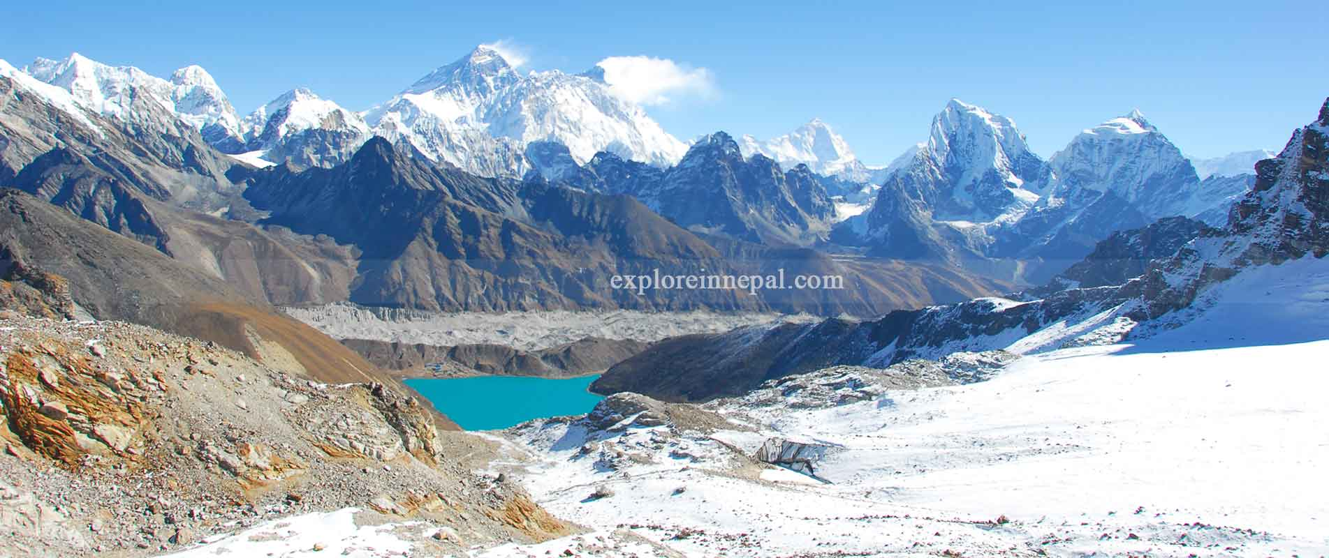 View from Gokyo-ri to Mount Everest range and Gokyo lake