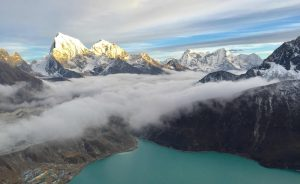 Amazing sunrise mountains view from Gokyo ri alt.5360m
