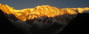 Sunrise view on Mt. Annapurna I from Mardihimala viewpoint.