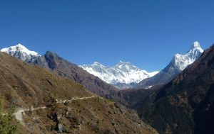 a panaramic view of mt. everest range view from Namche.