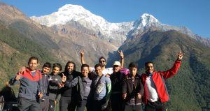 Chhumrung villages and behaind mountain view is Annapurna south (alt. 7210m)